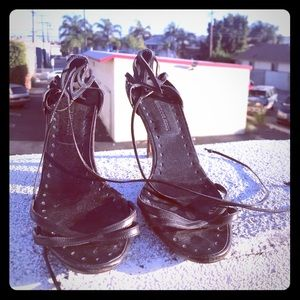 Authentic Manolo Blahnik Black Strappy Heels